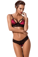 2tlg. Dessous Set in pink/schwarz