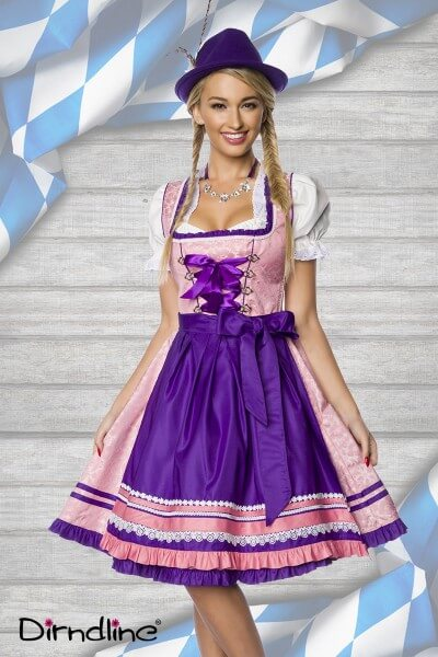 Luxus Dirndl in rosa/lila