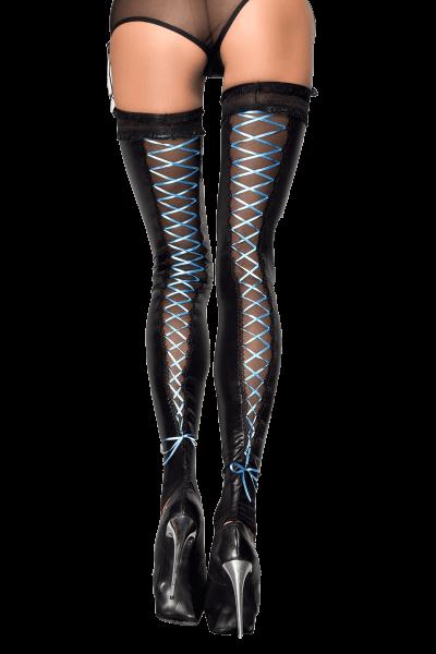 Stockings mit blauer Schnürung