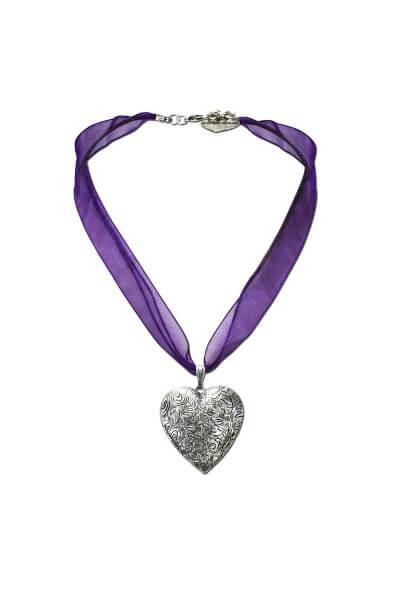 Halskette mit Amulett lila