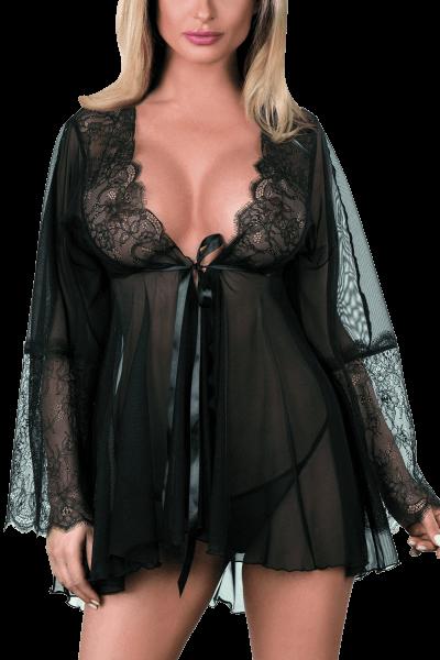 Kimono in schwarz aus Tüll