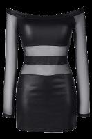 Schwarzes Kleid mit Tüll-Ärmeln