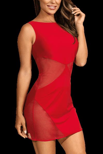 Rotes Kleid mit Tüll-Einsätzen