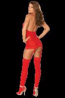 Bodystocking in Strapskleid-Optik Rot