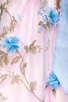 2tlg. Luxus Dirndl mit Blumenschürze - rosa/blau
