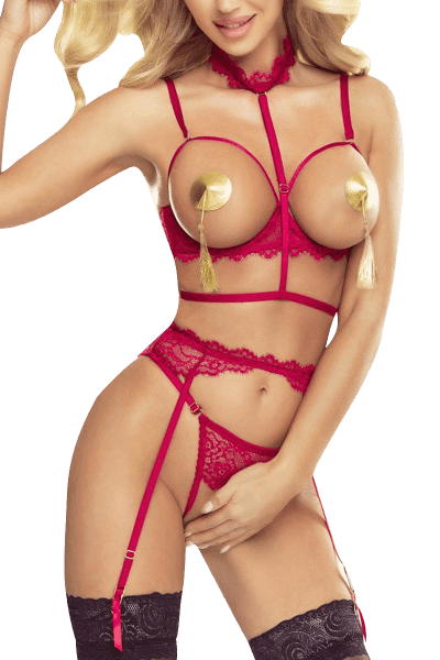 4tlg. Ouvert Set in Pink