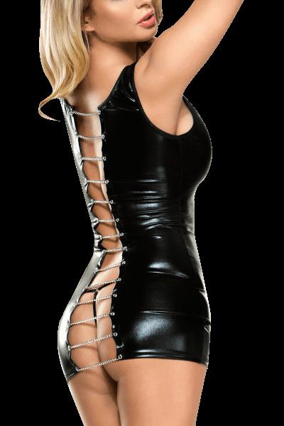 Wetlook Minikleid mit Metallketten