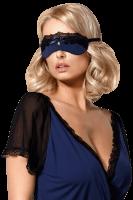 Augenmaske in blau mit schwarzer Spitze