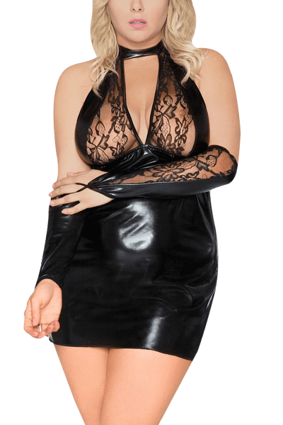Wetlook Negligee Plus Size schwarz