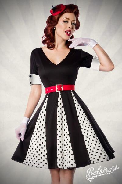 Rockabilly Godet Kleid schwarz/weiß