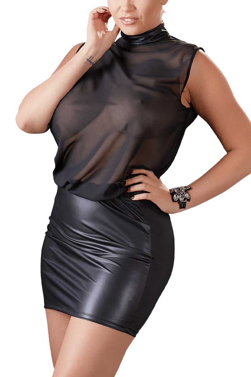 wetlook-chiffon-kleid plus size