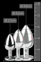 Silberner Analplug mit silbernem Kristall - S/M/L