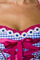 2tlg. Luxus Dirndl in pink/blau/weiß