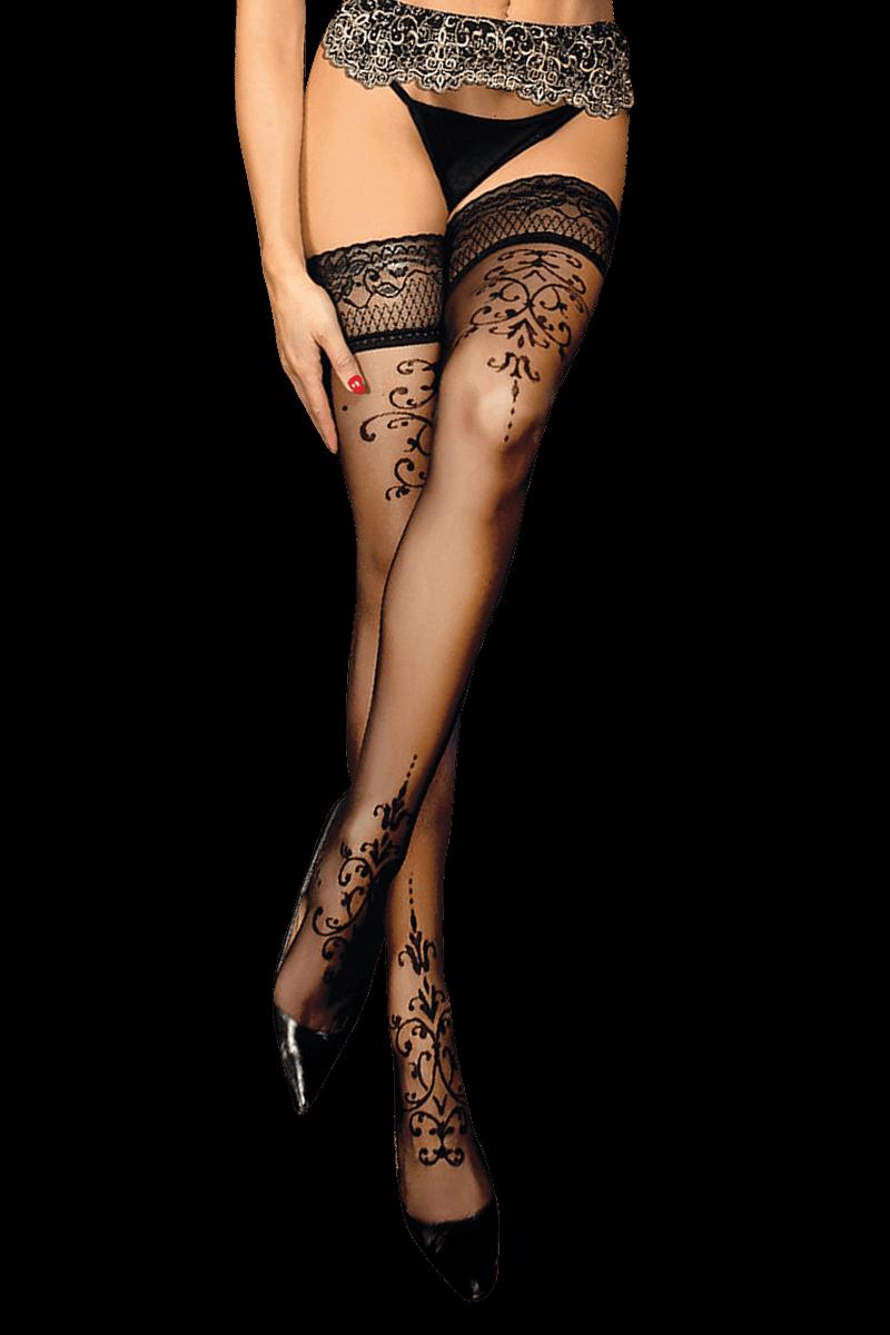 Halterlose Strümpfe Damen Wetlook-Stockings in rot schwarz weiß MeSeduce Dessous