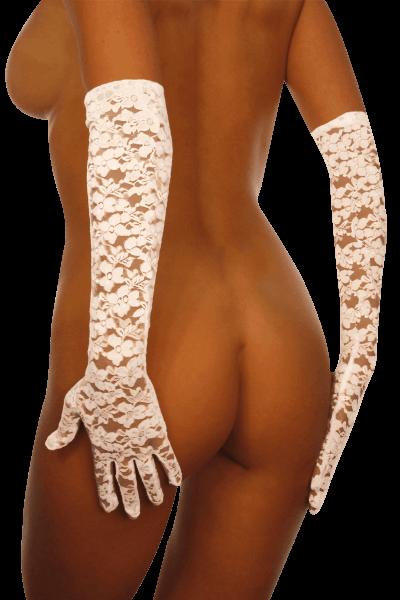 Lange Spitzenhandschuhe weiß