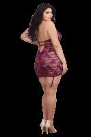 Strapskleid mit Spitze in lila Plus Size