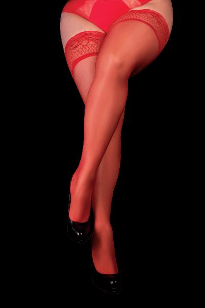 halterlose Strümpfe Rot 20DEN Plus Size