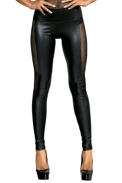 Wetlook Leggings mit Tüll