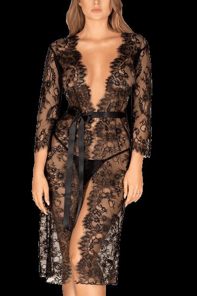 Kimono aus Spitze schwarz