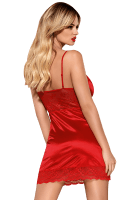 Rote Chemise mit Spitze