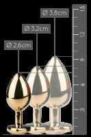 Goldener Analplug mit Herzkristall - S/M/L