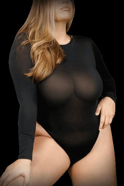 Plus Size Body langärmlig schwarz