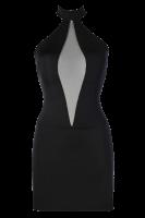 Schwarzes Neckholder-Kleid mit Tüll