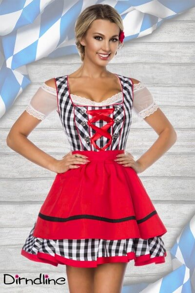 2tlg. Mini Dirndl schwarz/weiß/rot