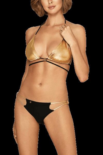 Neckholder-Bikini Schwarz/Gold