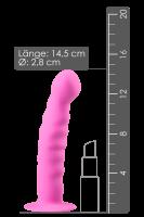 Saugnapf-Dildo mit geripptem Schaft rosa - 14,5cm