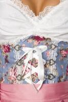 3tlg. Dirndl Set in blau/rosa/weiß