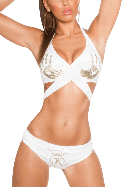 Neckholder Bikini weiß mit Hände-Print