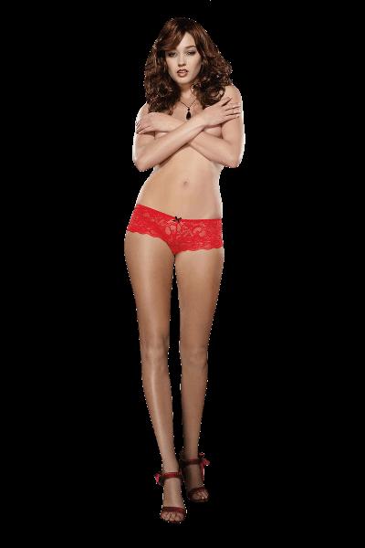 Spitzenpanty ouvert in Rot