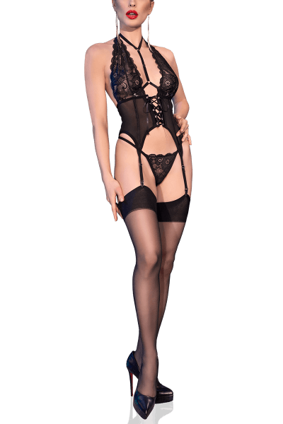 3tlg. Erotik-Set in schwarz