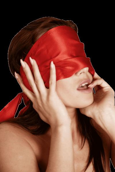 Augenbinde aus Satin rot