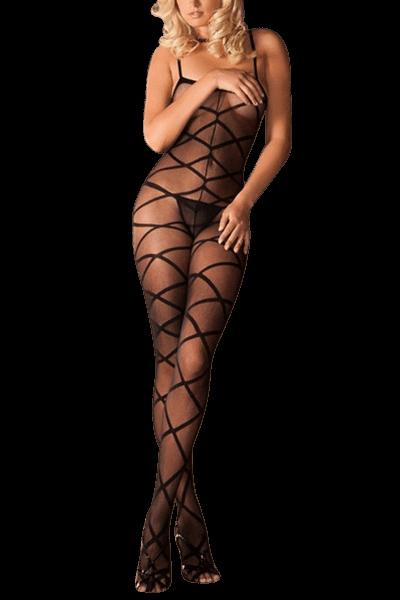 schwarzer Catsuit mit Schnürungsmustern