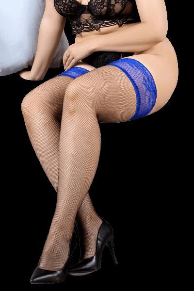 halterlose Strümpfe blau/schwarz Plus Size