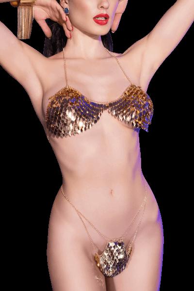 Körperschmuck Dessous Set gold