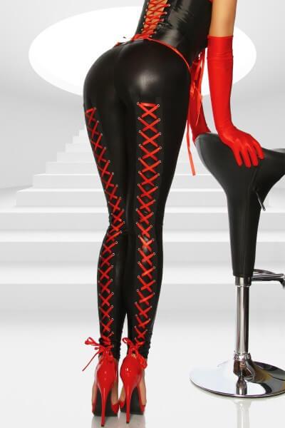Wetlook-Leggings mit roter Schnürung