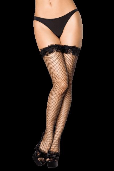 Netz Stockings mit Rüschen in schwarz