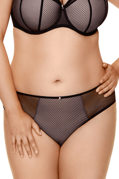 Tüll-Slip in schwarz/rosa Plus Size