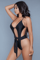 Badeanzug schwarz zum binden