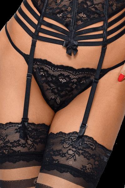 Spitzen String schwarz