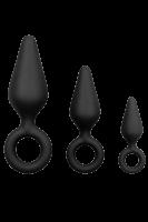 3tlg. Analplug-Set schwarz - S/M/L