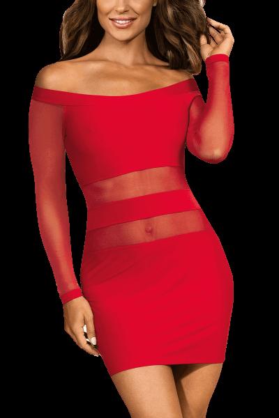 Rotes Kleid mit Tüll-Ärmeln