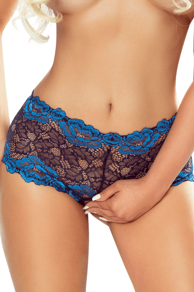 Ouvert Panty schwarz/blau