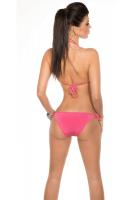 Neckholder Bikini mit Pailetten pink