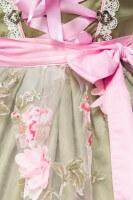 2tlg. Luxus Dirndl mit Blumenschürze - grün/rosa