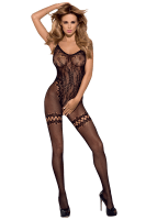 Ouvert Bodystocking mit Blumenmuster