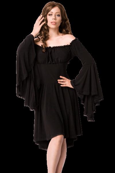 Schwarzes Mittelalter Kleid von vorne